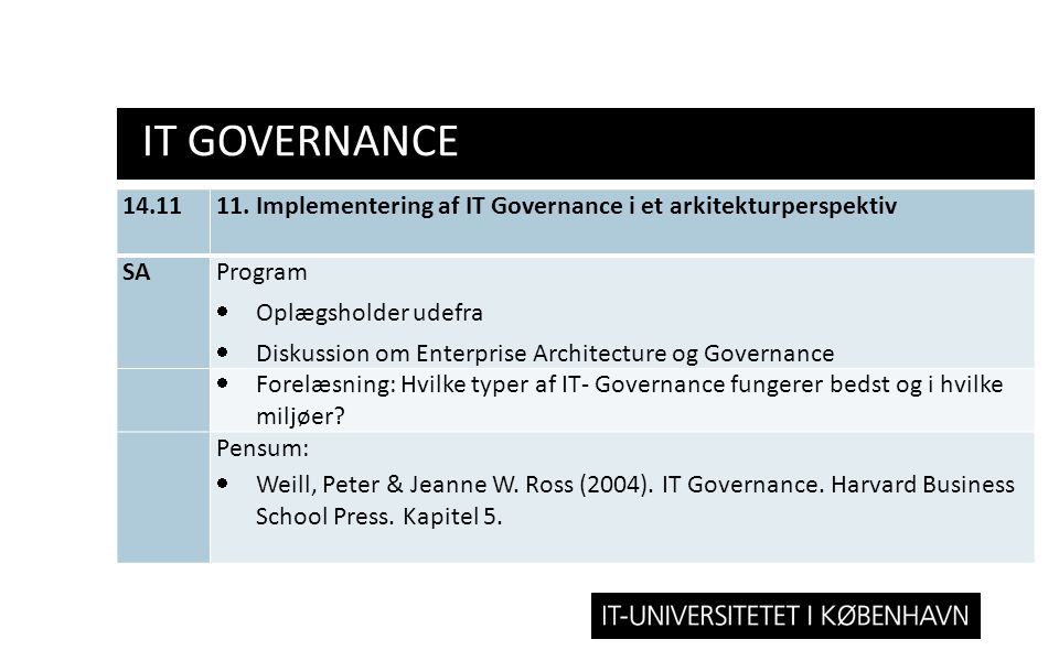 IT Governance 14.11. 11. Implementering af IT Governance i et arkitekturperspektiv. SA. Program.