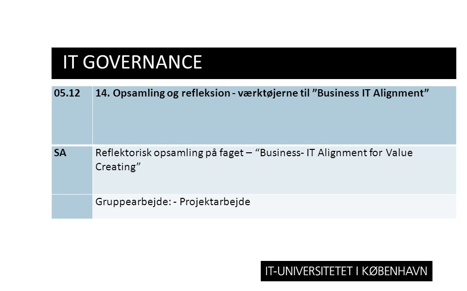 IT Governance 05.12. 14. Opsamling og refleksion - værktøjerne til Business IT Alignment SA.