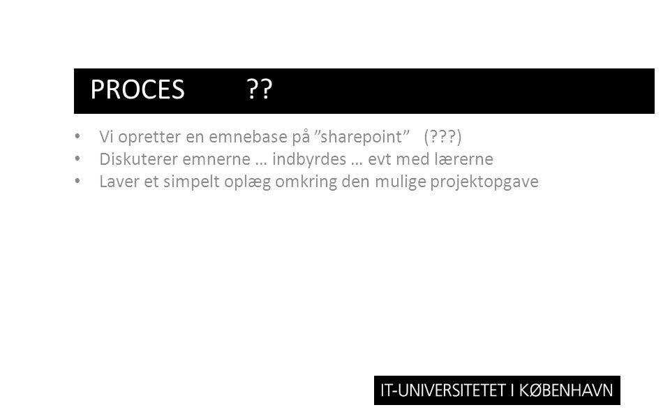 Proces Vi opretter en emnebase på sharepoint ( )