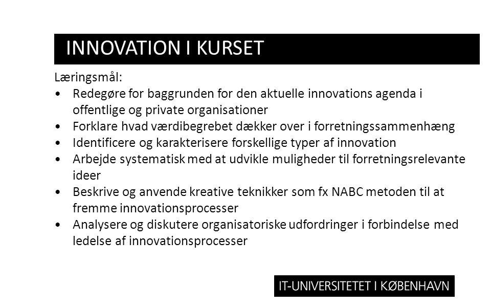 innovation i kurset Læringsmål: