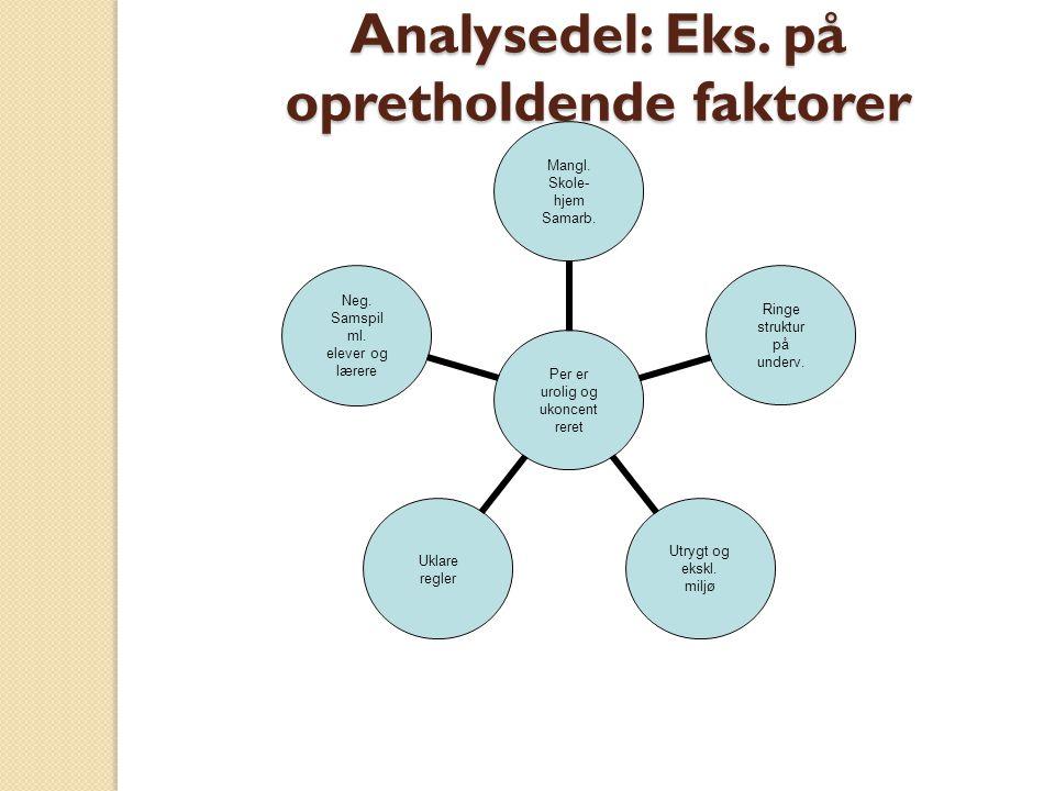 Analysedel: Eks. på opretholdende faktorer