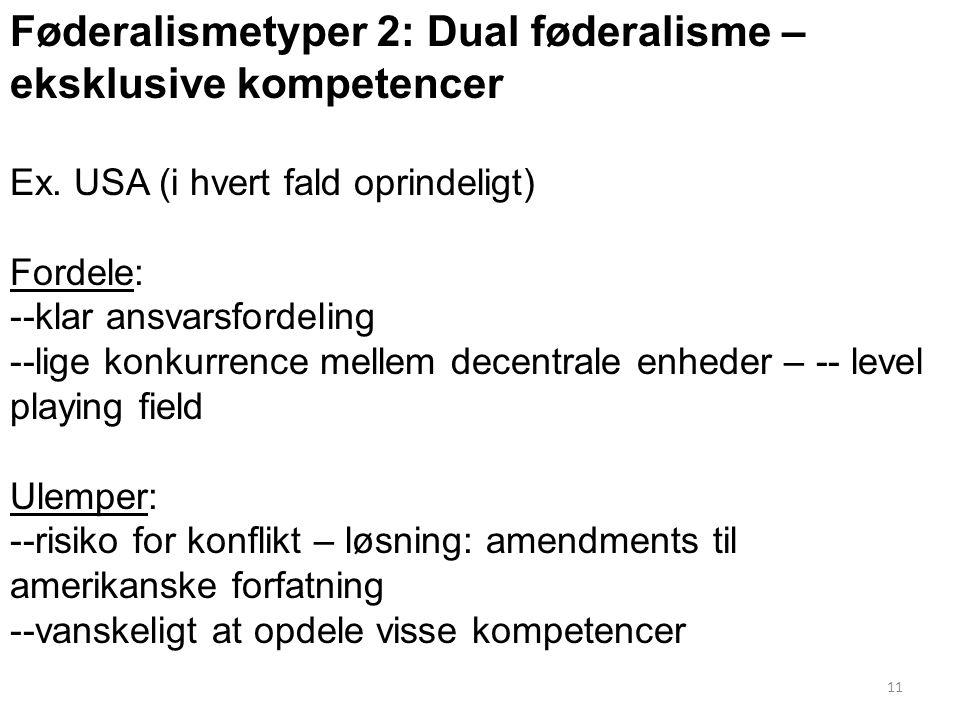 Føderalismetyper 2: Dual føderalisme – eksklusive kompetencer