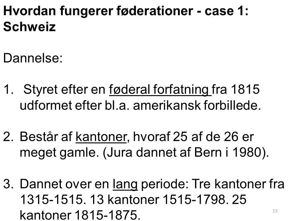 Hvordan fungerer føderationer - case 1: Schweiz