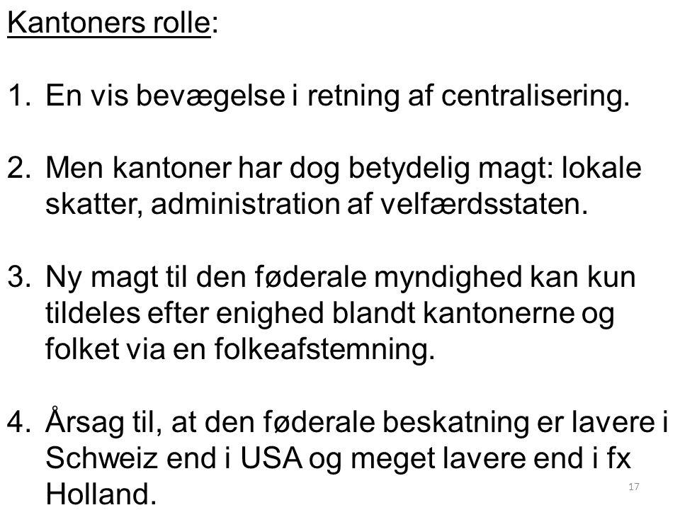 Kantoners rolle: En vis bevægelse i retning af centralisering.