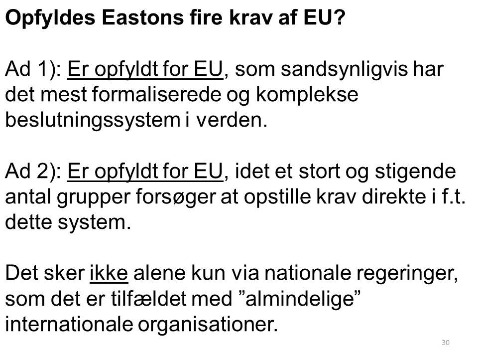 Opfyldes Eastons fire krav af EU