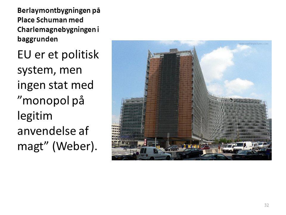 Berlaymontbygningen på Place Schuman med Charlemagnebygningen i baggrunden