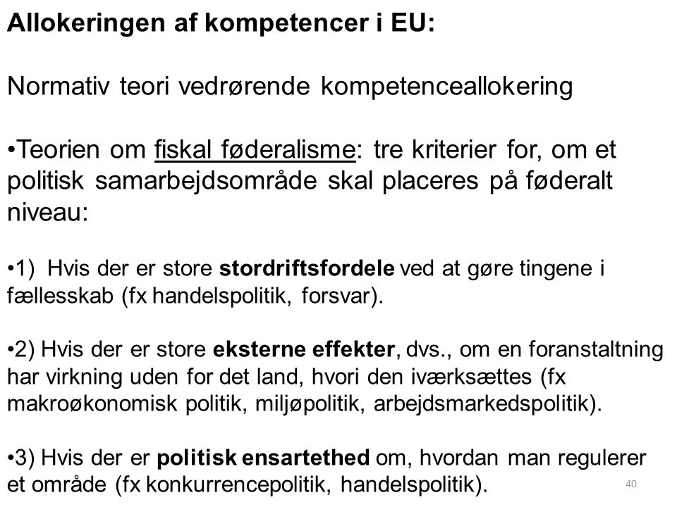 Allokeringen af kompetencer i EU: