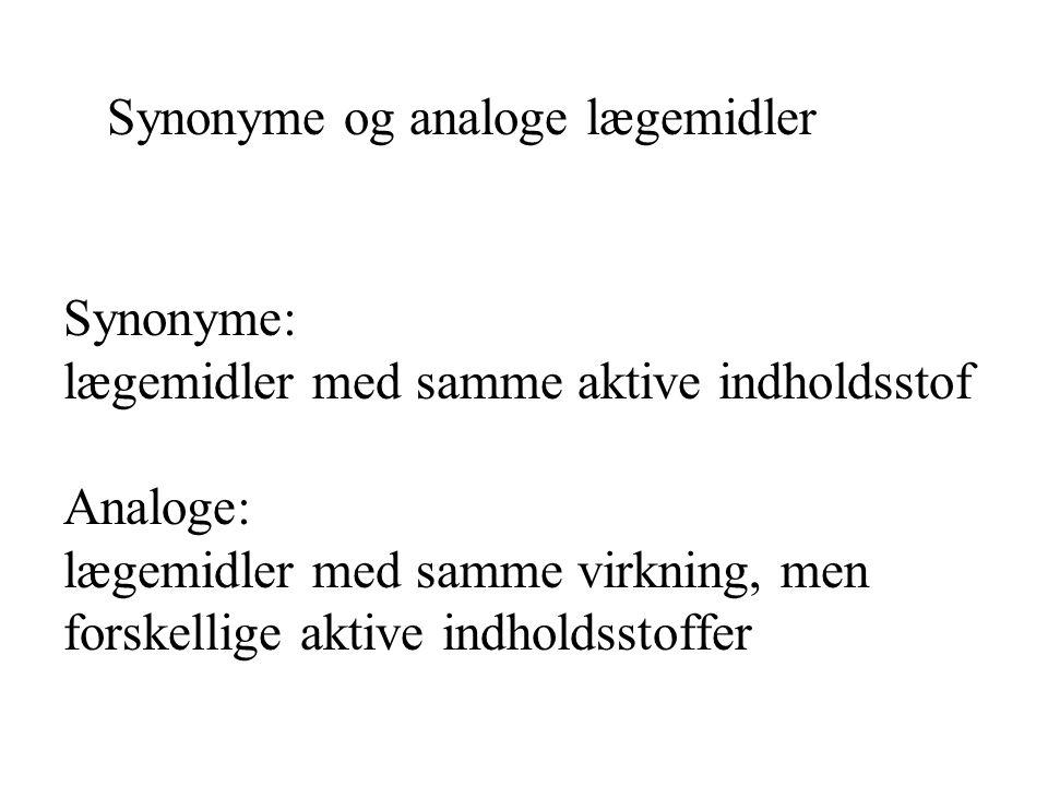 Synonyme og analoge lægemidler