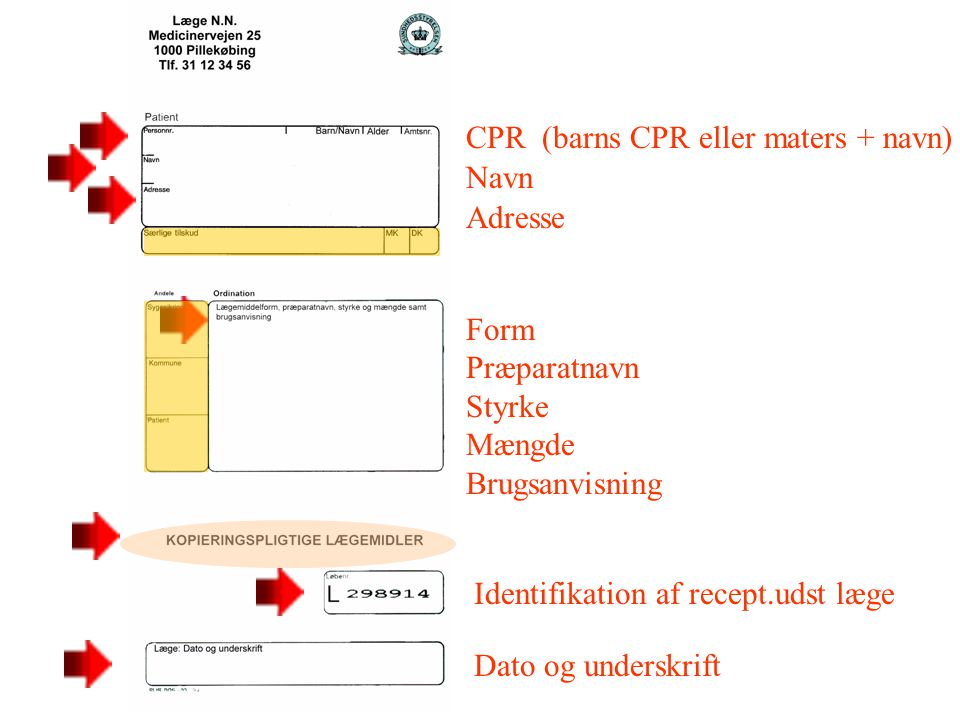 CPR (barns CPR eller maters + navn)