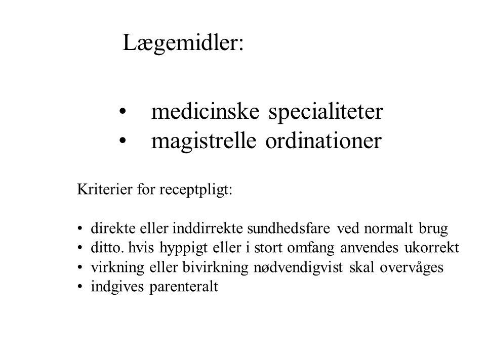 medicinske specialiteter magistrelle ordinationer
