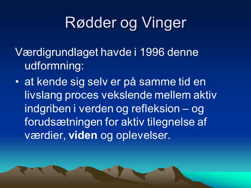 Rødder og Vinger Værdigrundlaget havde i 1996 denne udformning: