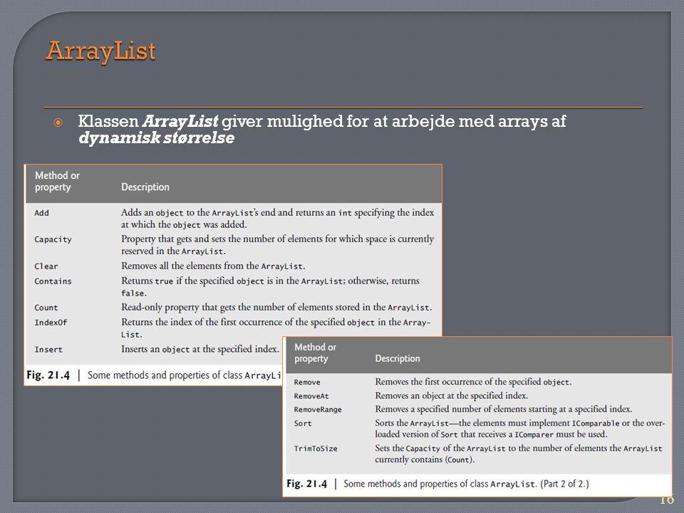 ArrayList Klassen ArrayList giver mulighed for at arbejde med arrays af dynamisk størrelse