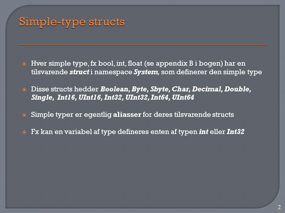Simple-type structs
