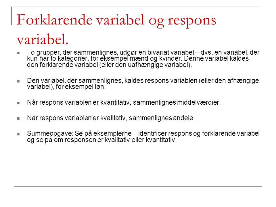 Forklarende variabel og respons variabel.