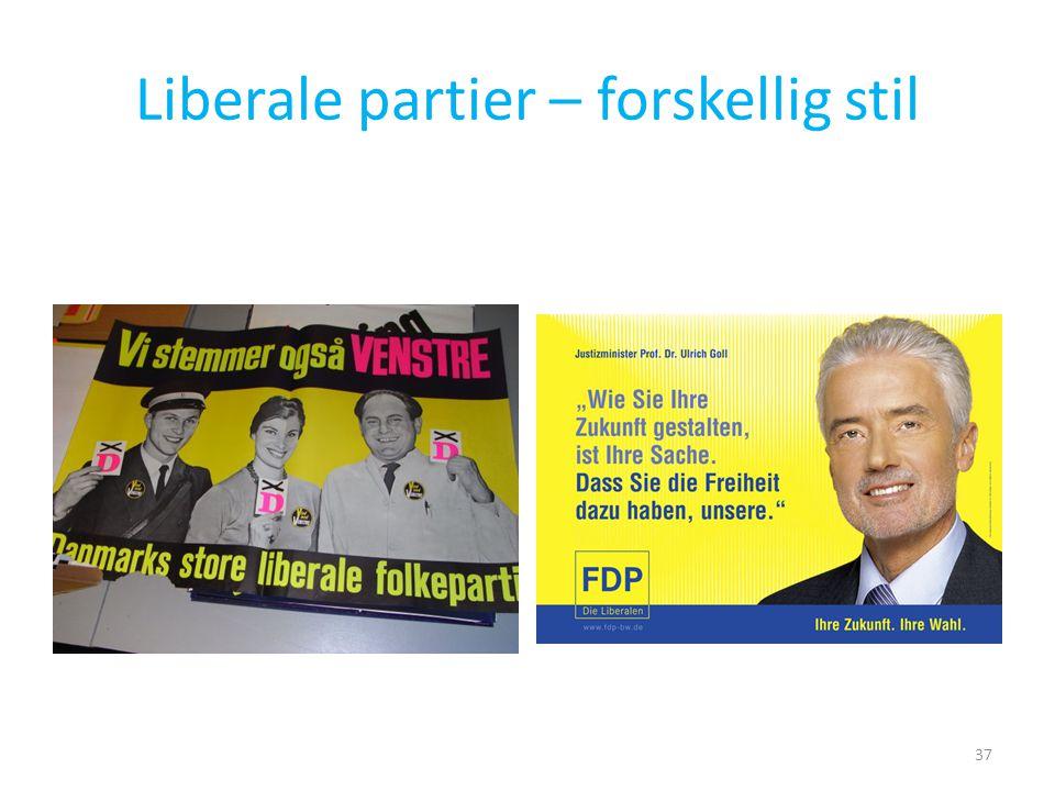 Liberale partier – forskellig stil
