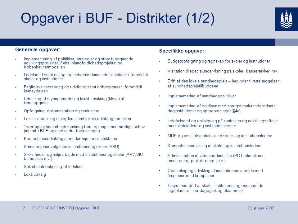 Opgaver i BUF - Distrikter (1/2)