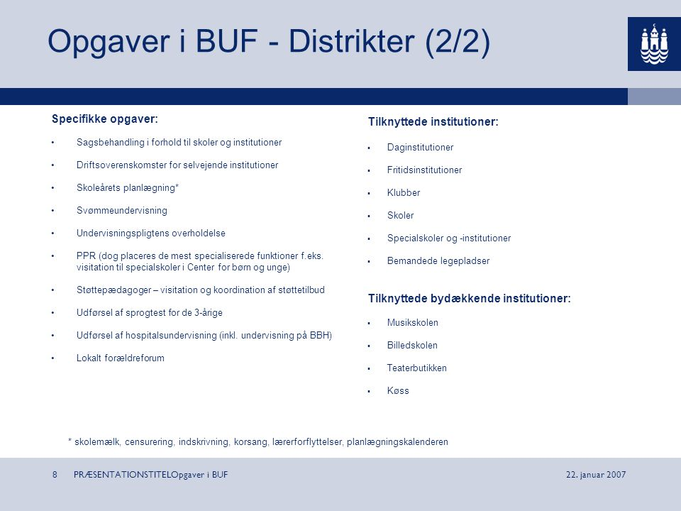 Opgaver i BUF - Distrikter (2/2)