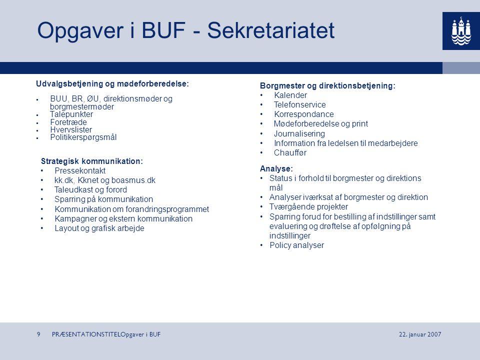 Opgaver i BUF - Sekretariatet