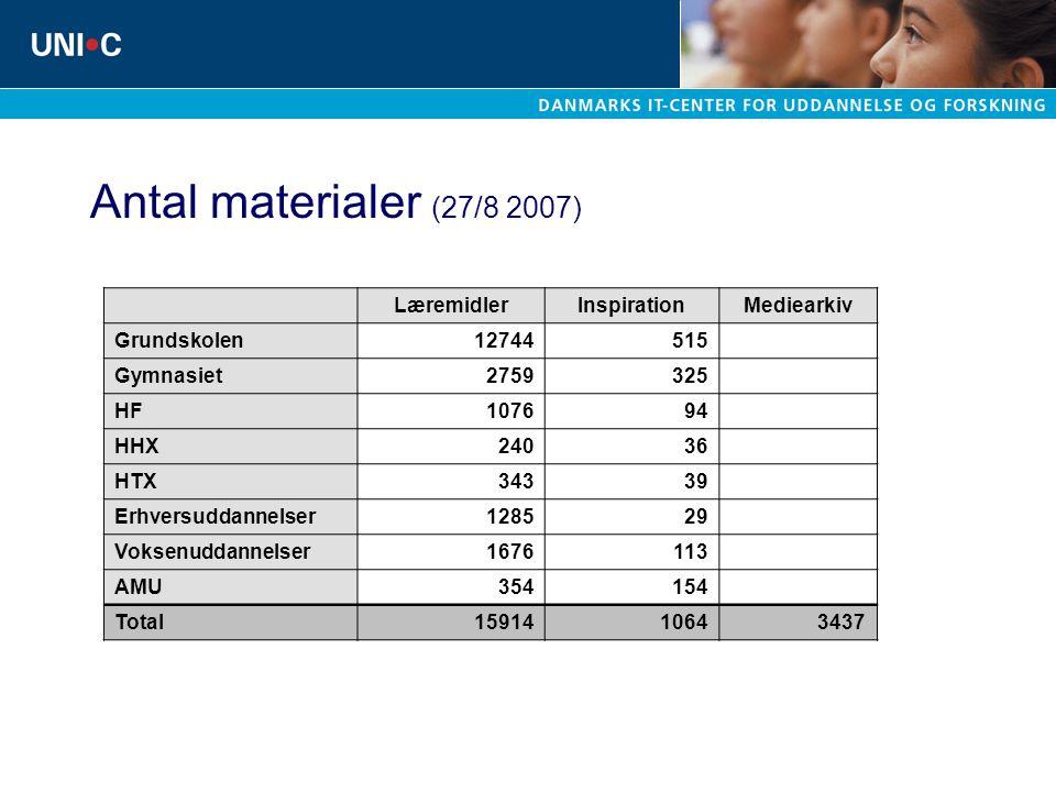 Antal materialer (27/8 2007) Læremidler Inspiration Mediearkiv
