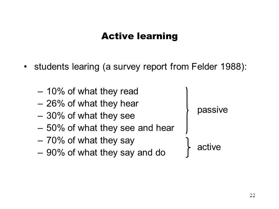 Active learning students learing (a survey report from Felder 1988): 10% of what they read. 26% of what they hear.