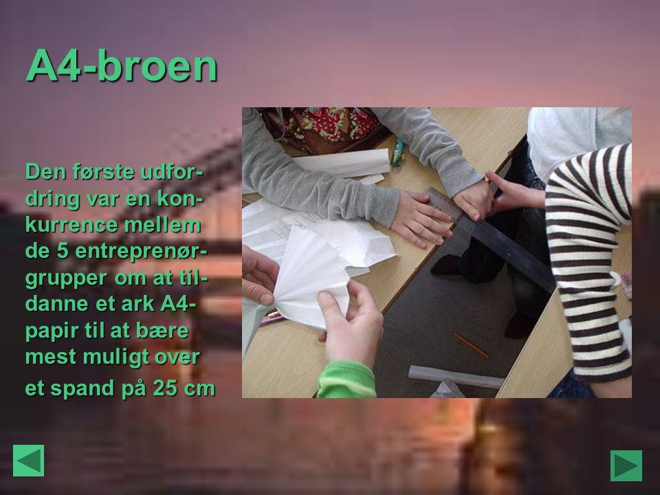 A4-broen Den første udfor-dring var en kon-kurrence mellem de 5 entreprenør-grupper om at til-danne et ark A4-papir til at bære mest muligt over.