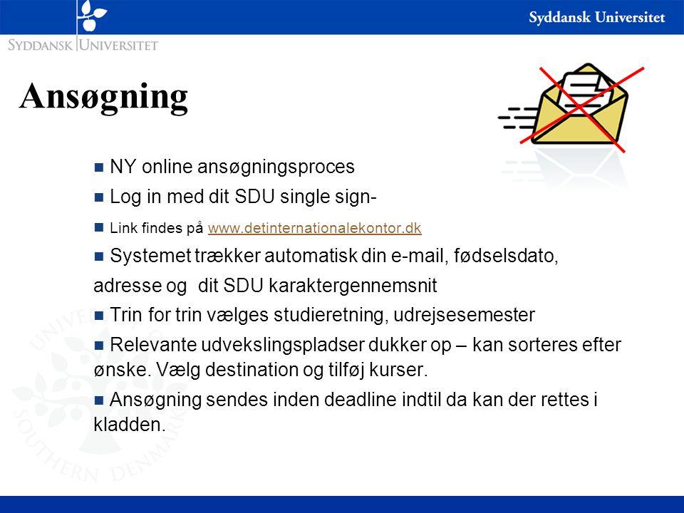 Ansøgning NY online ansøgningsproces Log in med dit SDU single sign-