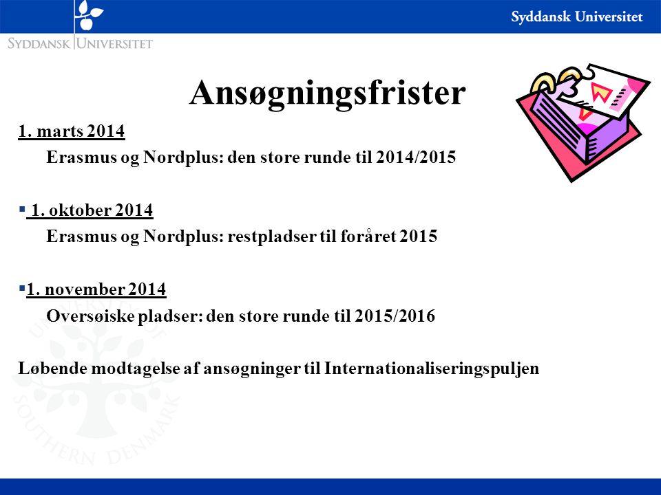 Ansøgningsfrister 1. marts 2014