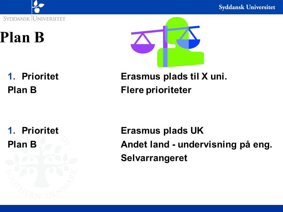 Plan B Prioritet Erasmus plads til X uni. Plan B Flere prioriteter