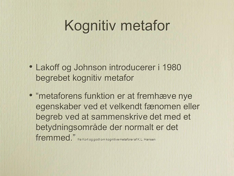 Kognitiv metafor Lakoff og Johnson introducerer i 1980 begrebet kognitiv metafor.