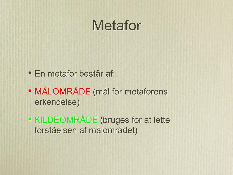 Metafor En metafor består af: