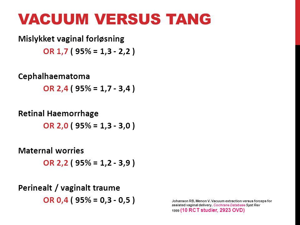 Vacuum versus Tang Mislykket vaginal forløsning