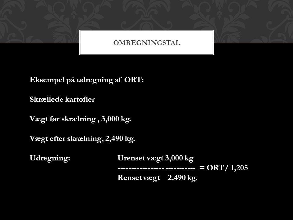 Eksempel på udregning af ORT: Skrællede kartofler