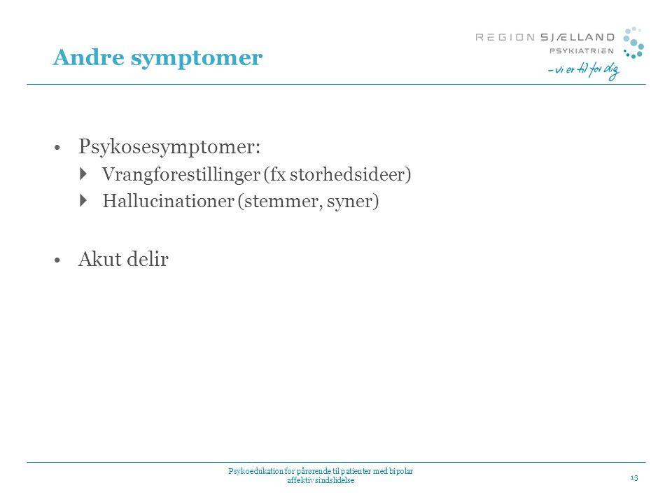 Andre symptomer Psykosesymptomer: Akut delir