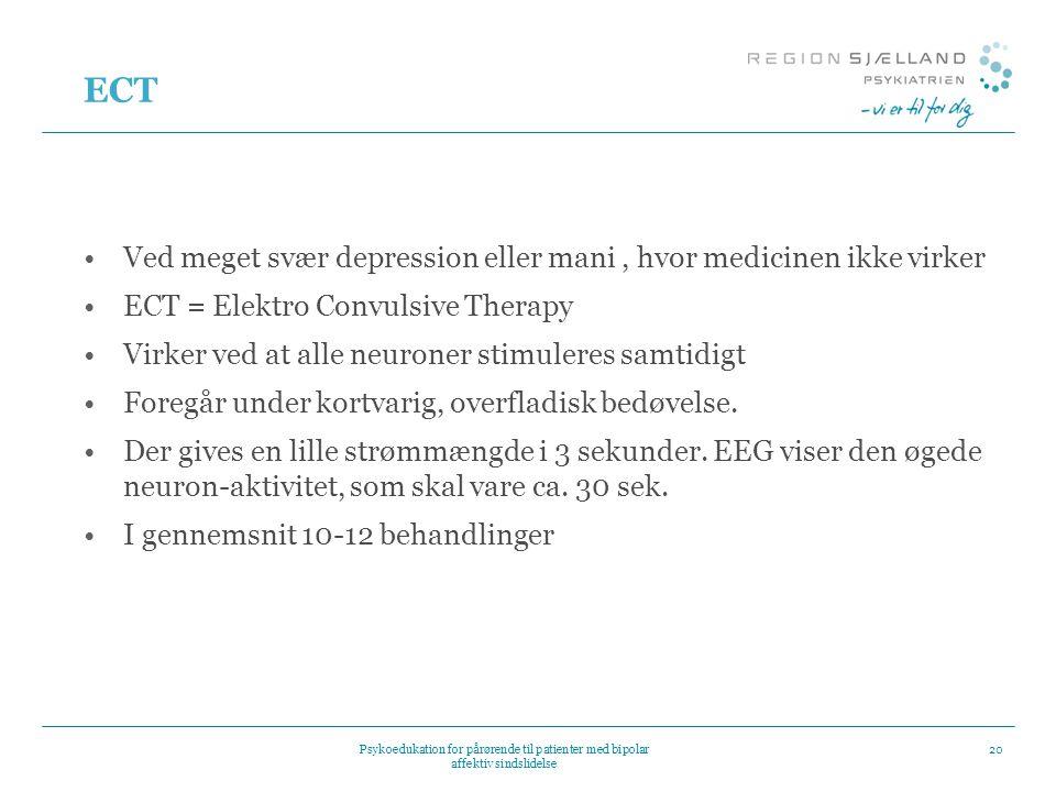 ECT Ved meget svær depression eller mani , hvor medicinen ikke virker