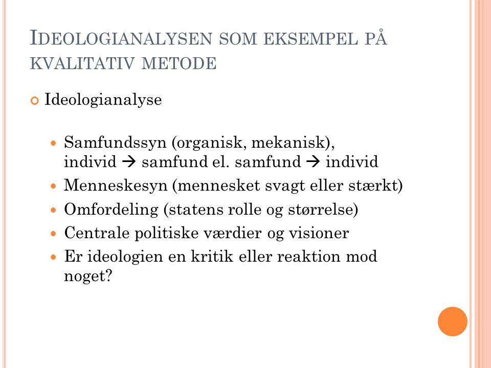 Ideologianalysen som eksempel på kvalitativ metode