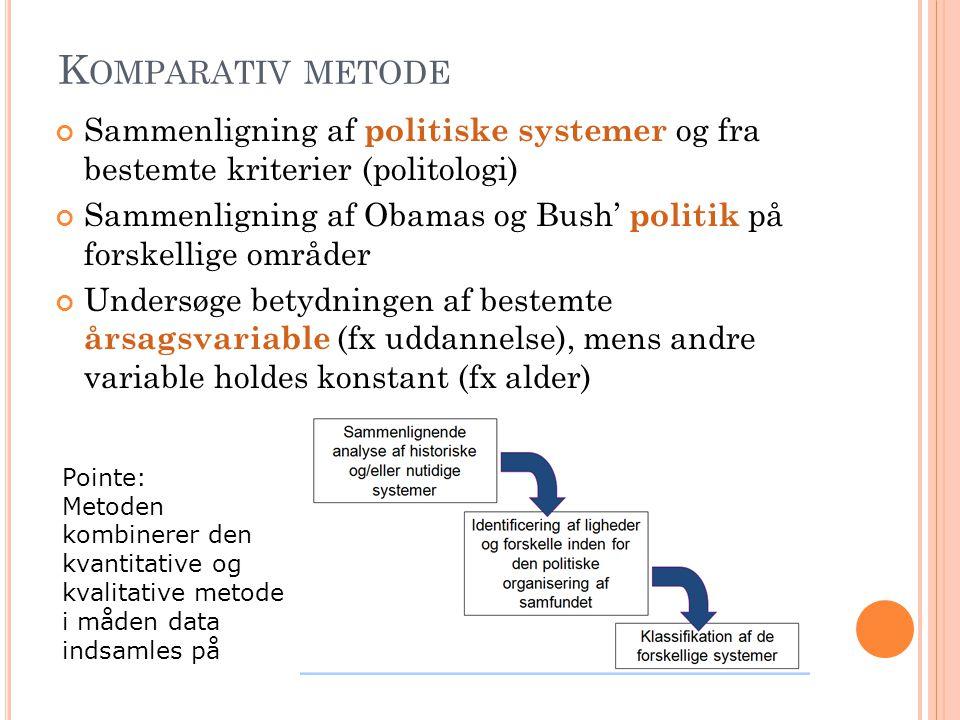 Komparativ metode Sammenligning af politiske systemer og fra bestemte kriterier (politologi)