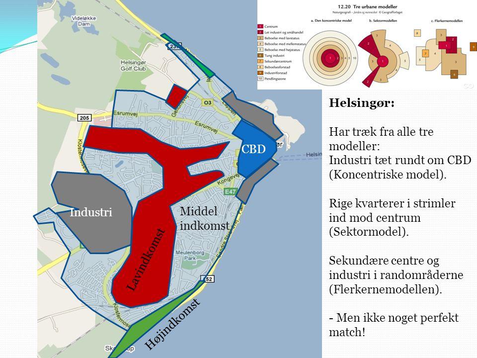 Helsingør: Har træk fra alle tre modeller: Industri tæt rundt om CBD (Koncentriske model). Rige kvarterer i strimler ind mod centrum (Sektormodel).