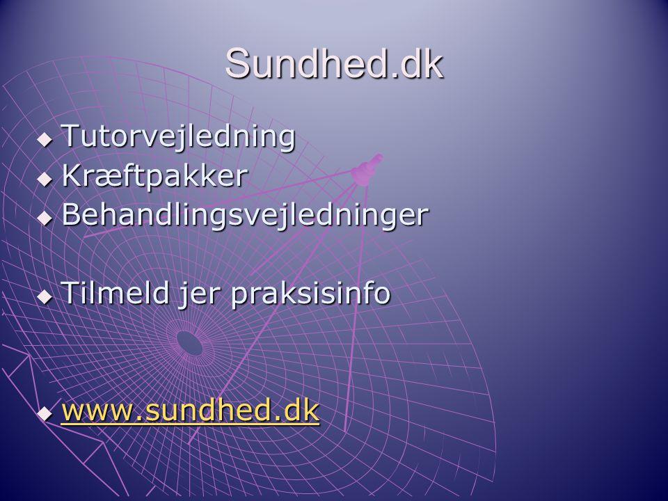 Sundhed.dk Tutorvejledning Kræftpakker Behandlingsvejledninger
