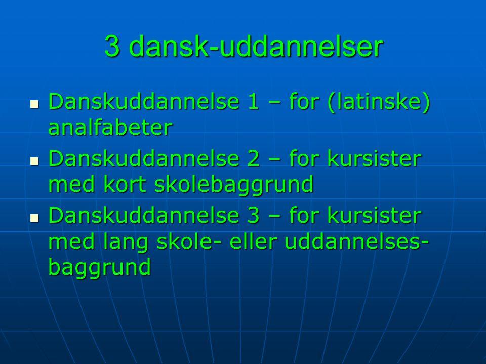 3 dansk-uddannelser Danskuddannelse 1 – for (latinske) analfabeter