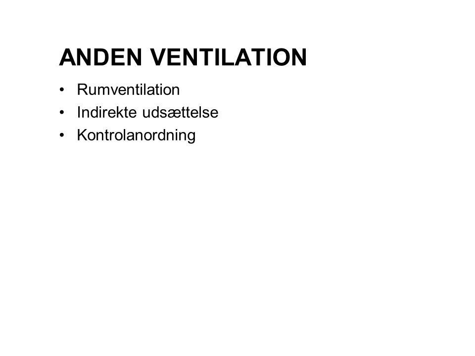 ANDEN VENTILATION Rumventilation Indirekte udsættelse Kontrolanordning