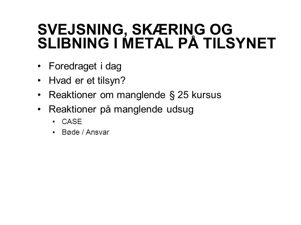 SVEJSNING, SKÆRING OG SLIBNING I METAL PÅ TILSYNET