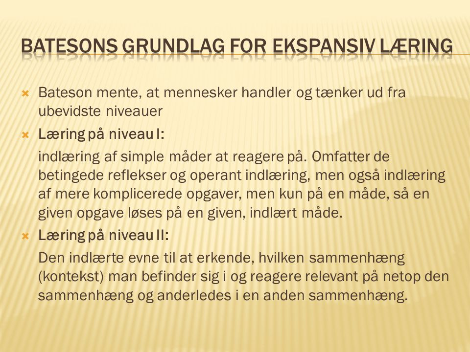 Batesons grundlag for ekspansiv læring