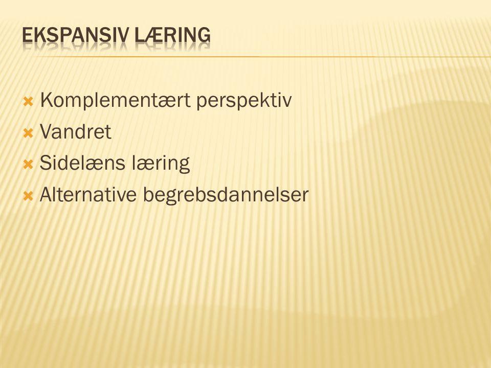 EKSPANSIV LÆRING Komplementært perspektiv Vandret Sidelæns læring Alternative begrebsdannelser