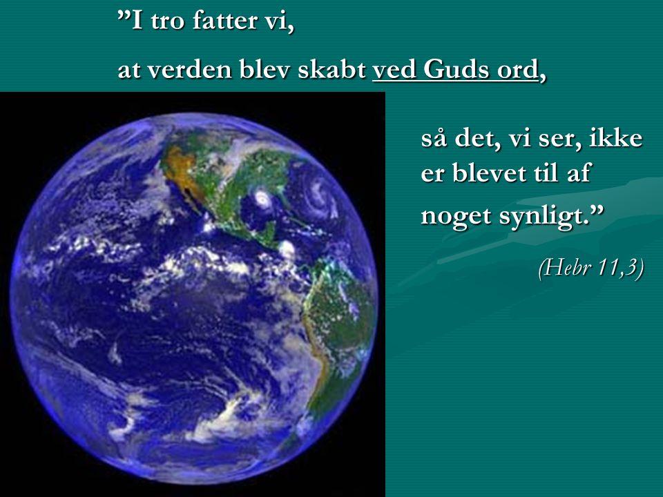 I tro fatter vi, at verden blev skabt ved Guds ord,