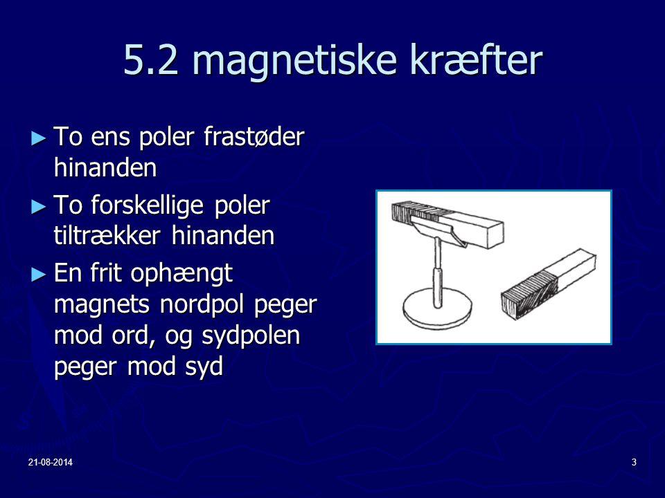 5.2 magnetiske kræfter To ens poler frastøder hinanden