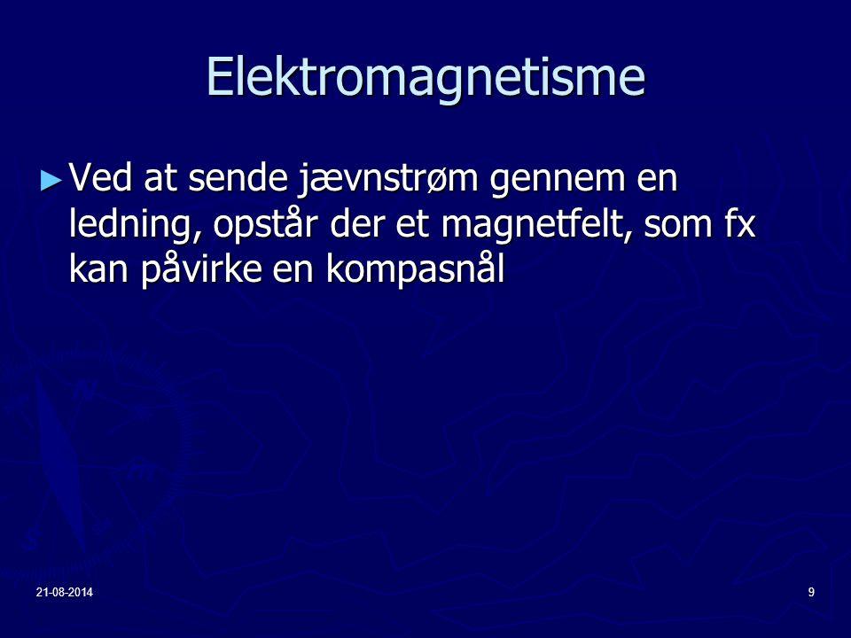 Elektromagnetisme Ved at sende jævnstrøm gennem en ledning, opstår der et magnetfelt, som fx kan påvirke en kompasnål.