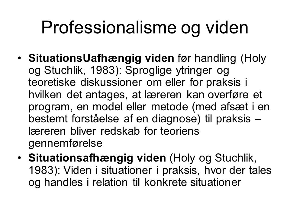 Professionalisme og viden