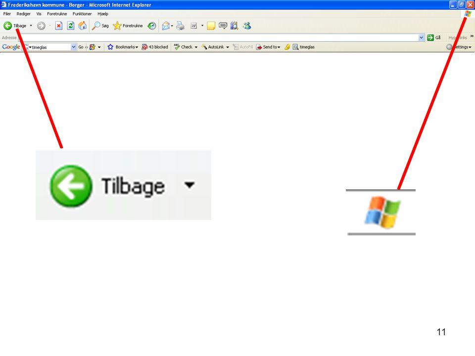 Visualisering nr. 9 Udsnit af browseren med windows ikonet samt tilbage knappen.