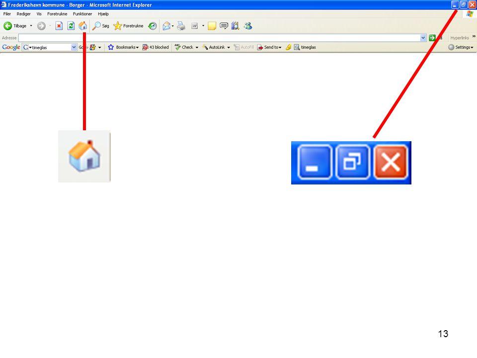 Visualisering nr. 11 Stor, lille og mellem hjemmeside. Hjem knappen i browseren.