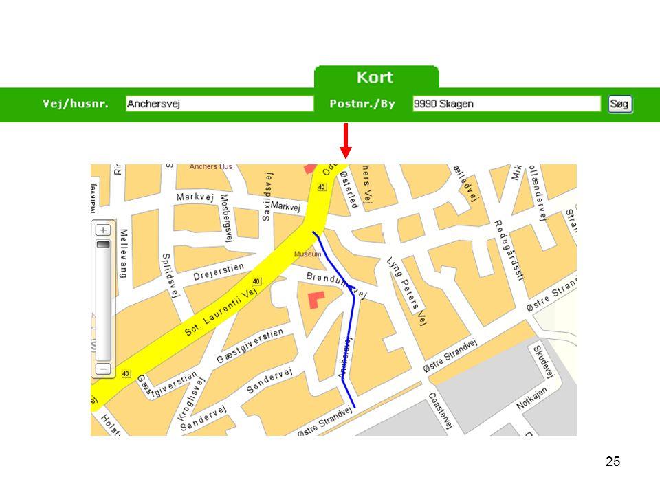 Visualisering nr.21: Her vises hvordan man finder et bestemt sted på et kort via Krak.dk